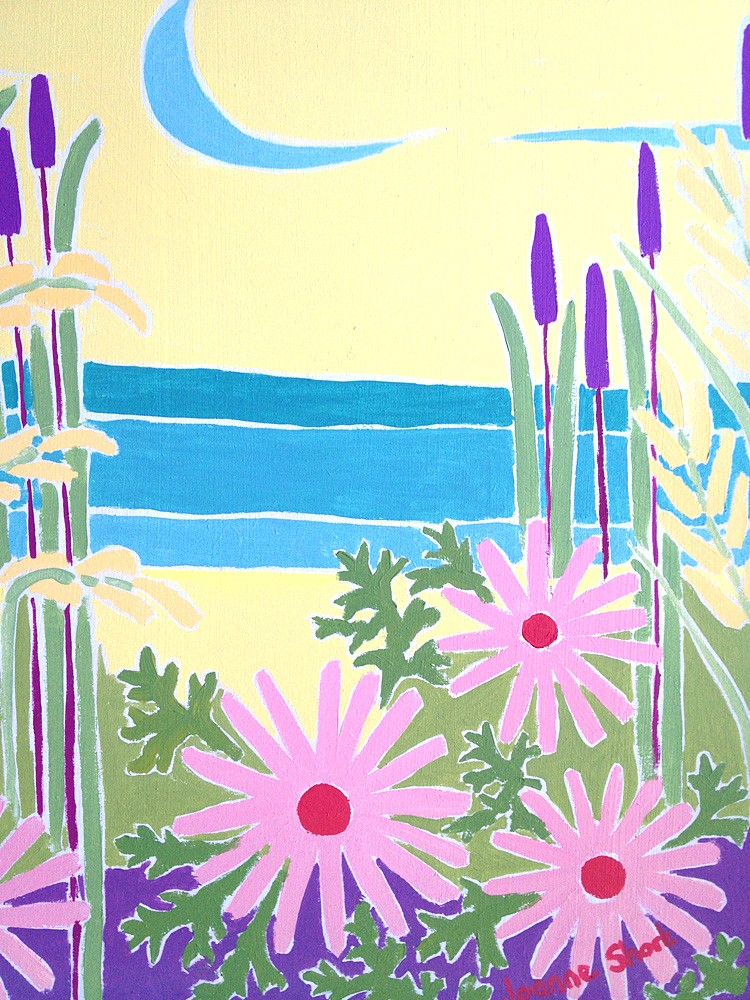 Original Painting by Joanne Short. Grasses and Flowers at Low Tide, the Camel Estuary, Cornwall.