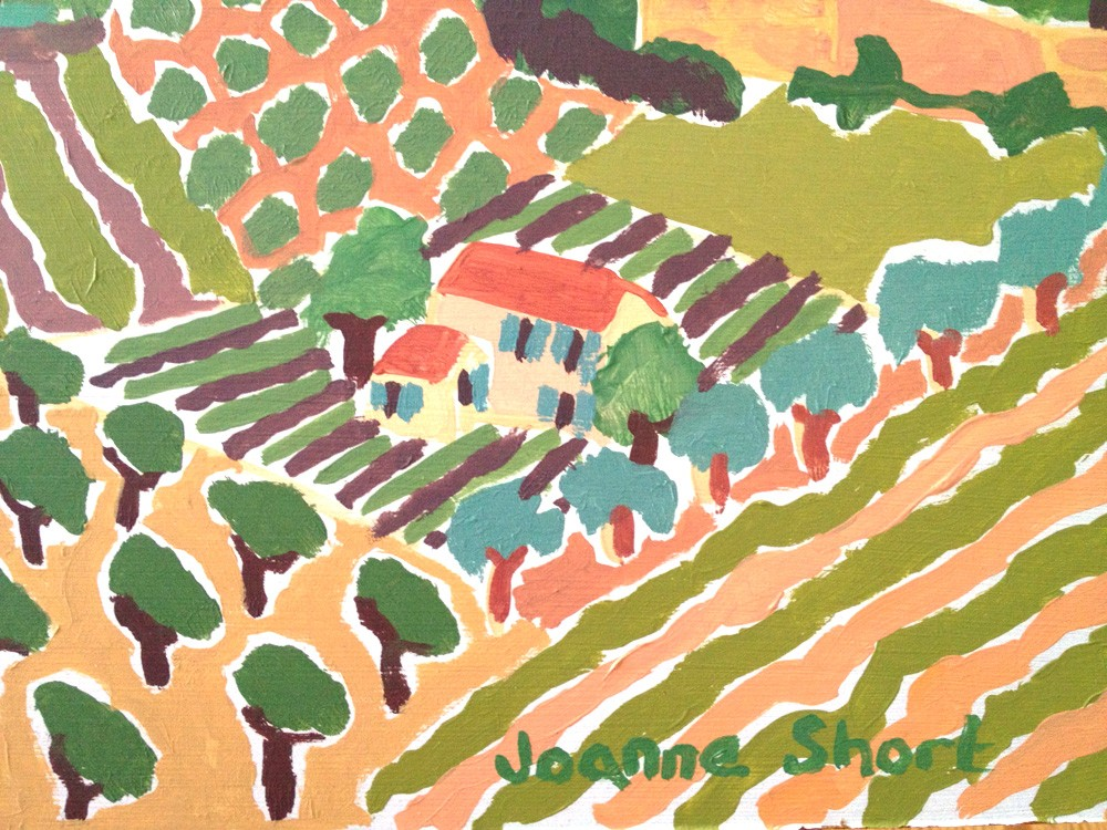 Original Painting by Joanne Short. Patchwork Fields, Faucon. Provence, France.