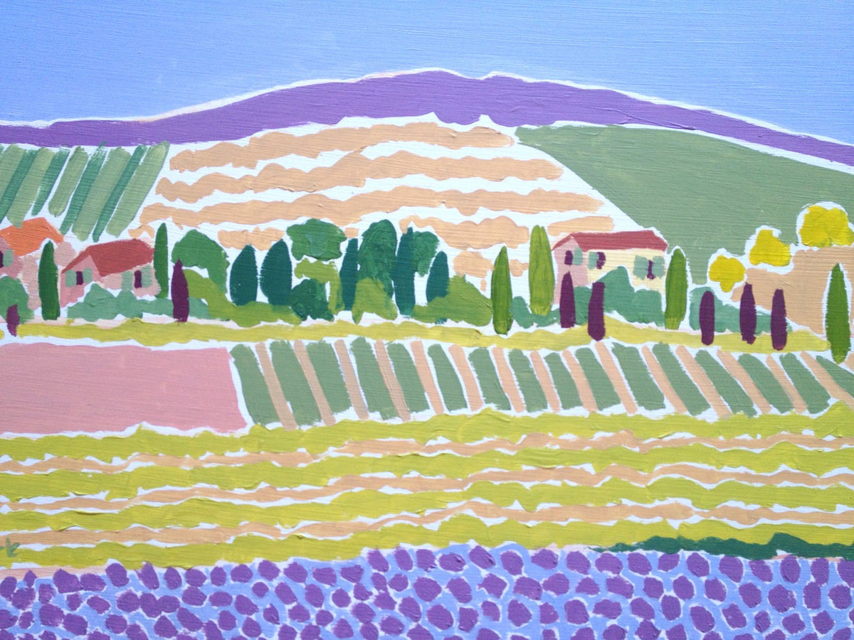 Original Painting by Joanne Short. A Field of Provençal Blue, Cairanne.