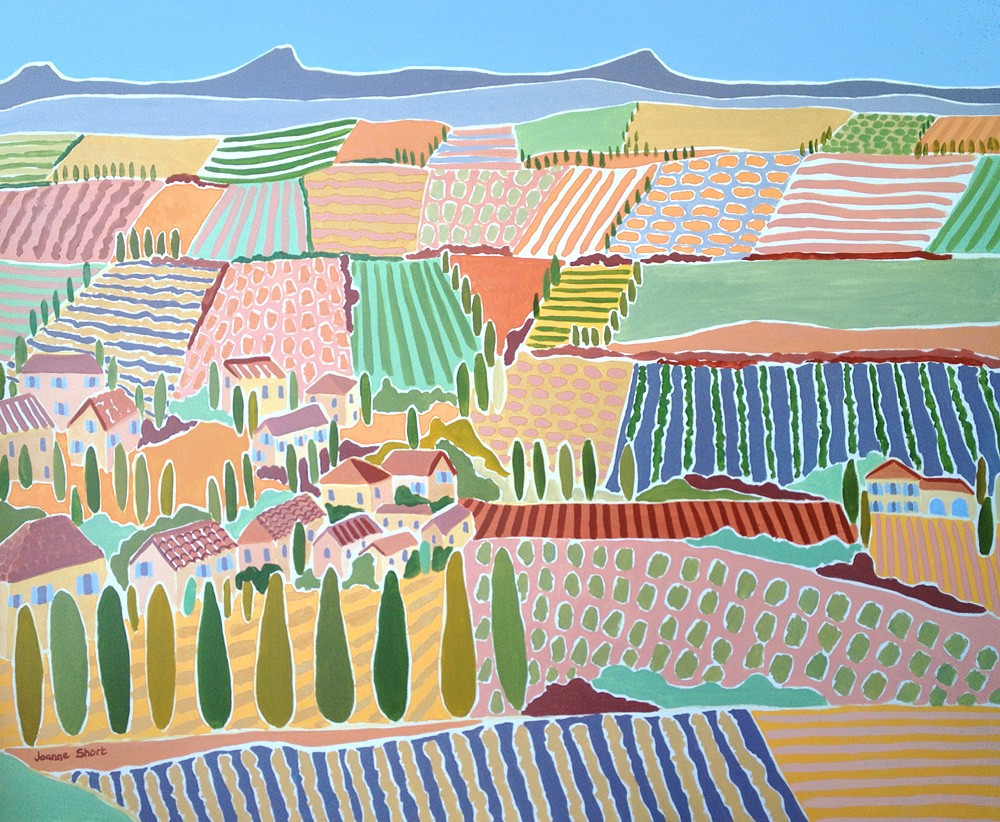 Original Painting by Joanne Short. Across the Valley, Rasteau. Provence, France.