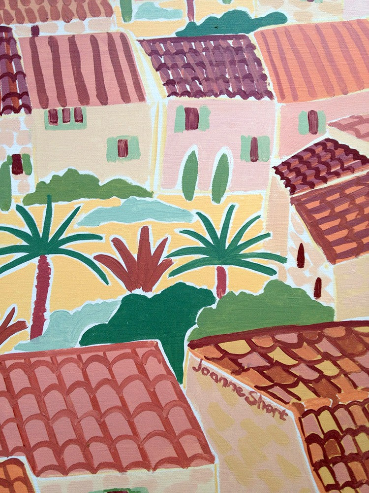 Original Painting by Joanne Short. Hot Summer Afternoon, Le Barroux. Provence, France.
