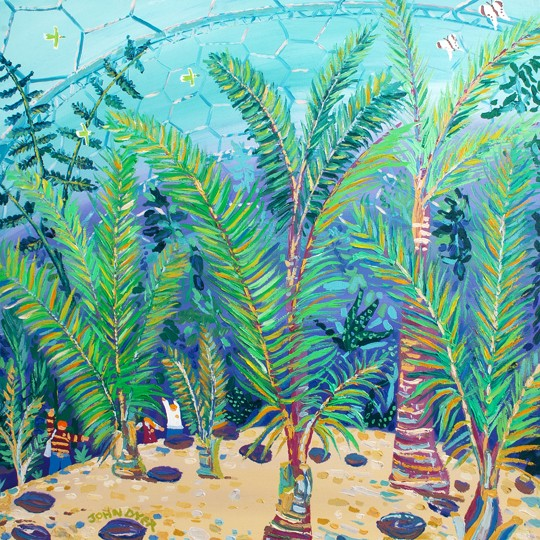 Original Painting by John Dyer. Palm Beach at Eden. Sealing wax palm trees.