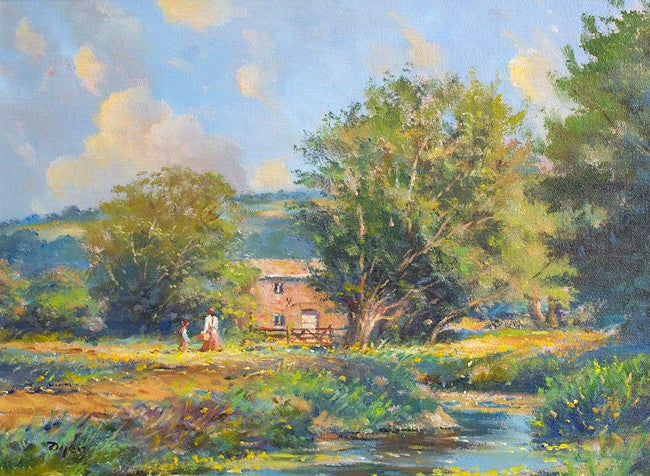 Original Oil Painting on Canvas. The Old Mill House. By British Artist Ted Dyer.