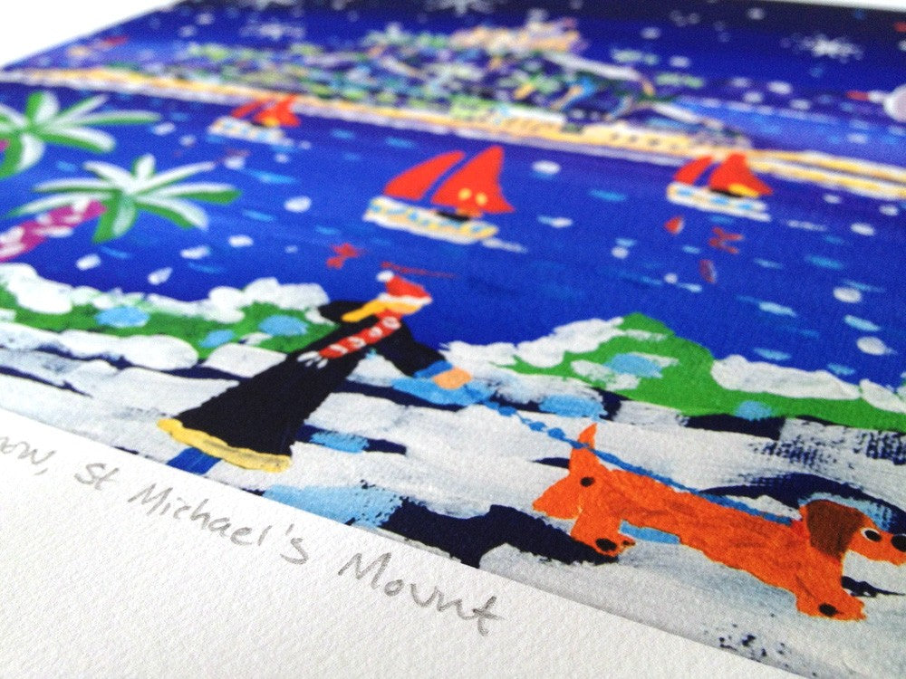 Limited Edition Print. Sailing through the Snow, St Michael's Mount by John Dyer