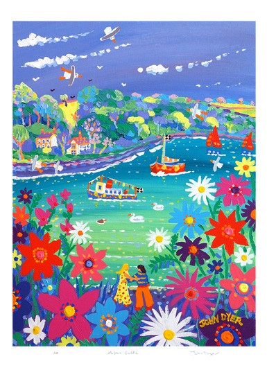 Signed Limited Edition Print by Cornish Artist John Dyer. Malpas Cuddle.