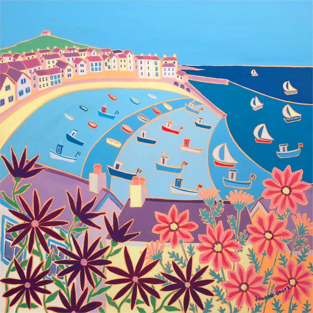 Signed Limited Edition Print by Joanne Short. Boats in the Bay, St Ives.