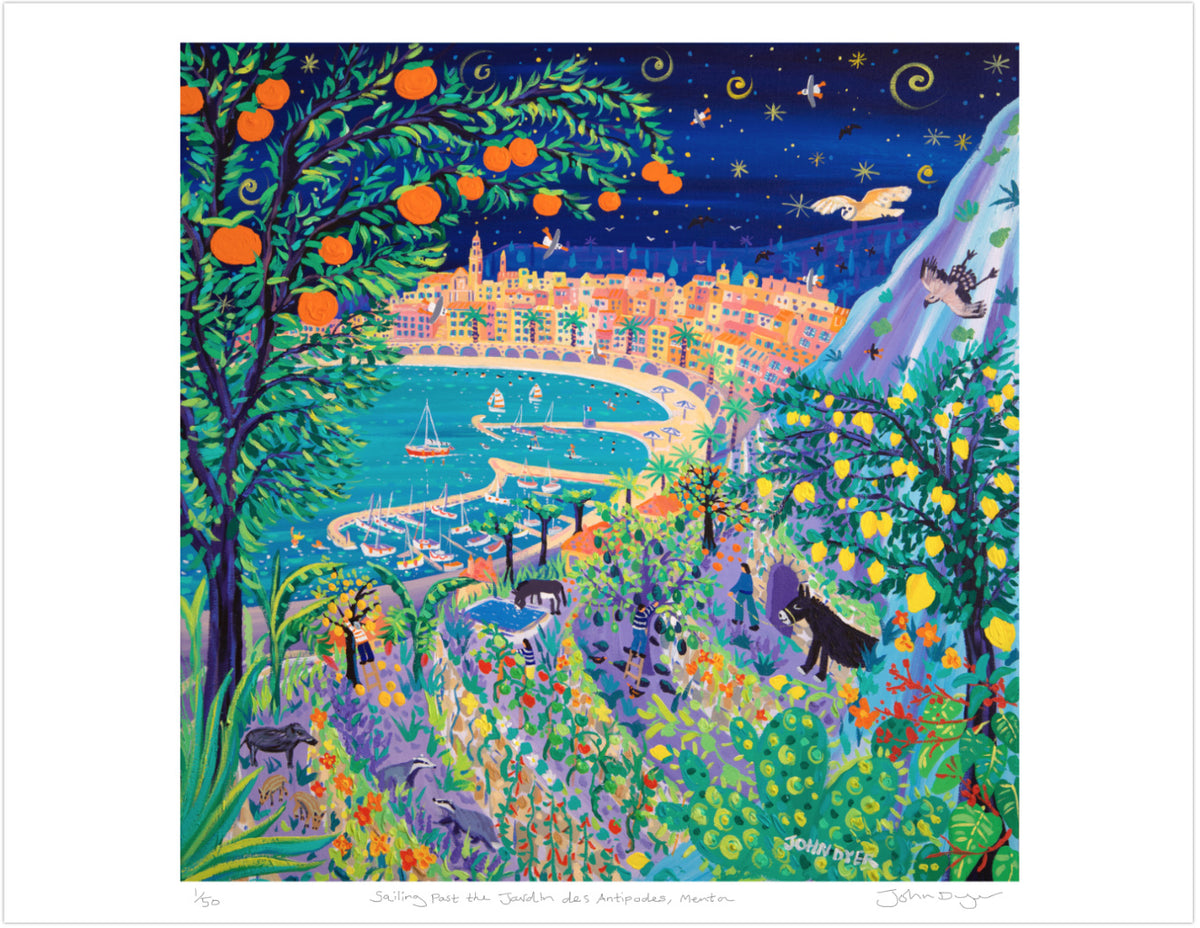 Limited Edition Print by John Dyer. Sailing Past the Jardin Des Antipodes, Menton