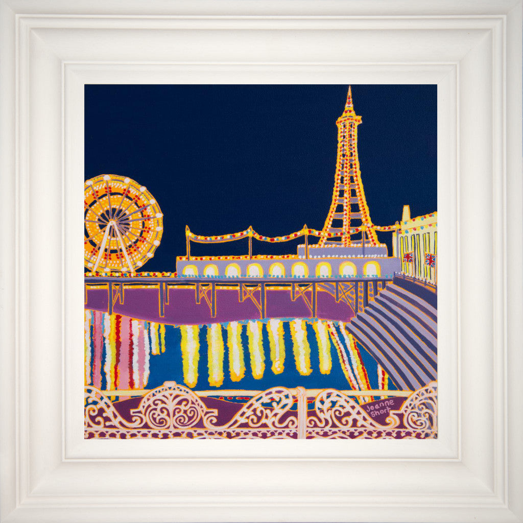 Painting by Joanne Short. Illuminated Blackpool. Tower ballroom, big wheel, pier.