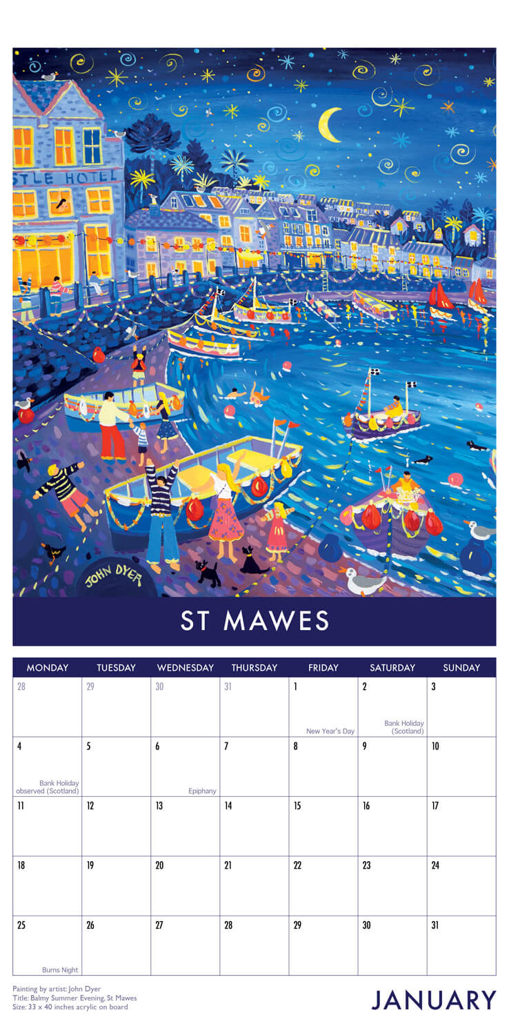 2021 Slim Calendar of Cornwall by Cornish artists Joanne Short and John Dyer