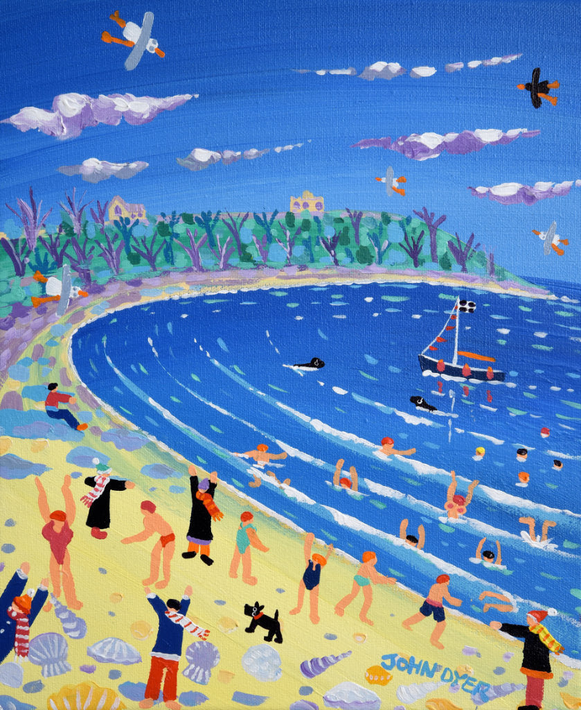 Painting of Falmouth beach with cold water swimmers, sea shells, scotty dog and seagulls by Cornish artist John Dyer.