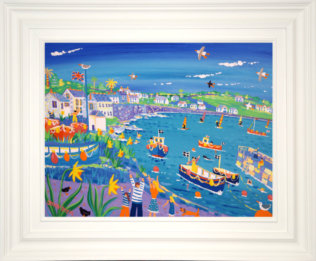 John Dyer Painting. Exploring the Harbour, Coverack. 18 x 24 inches acrylic on canvas