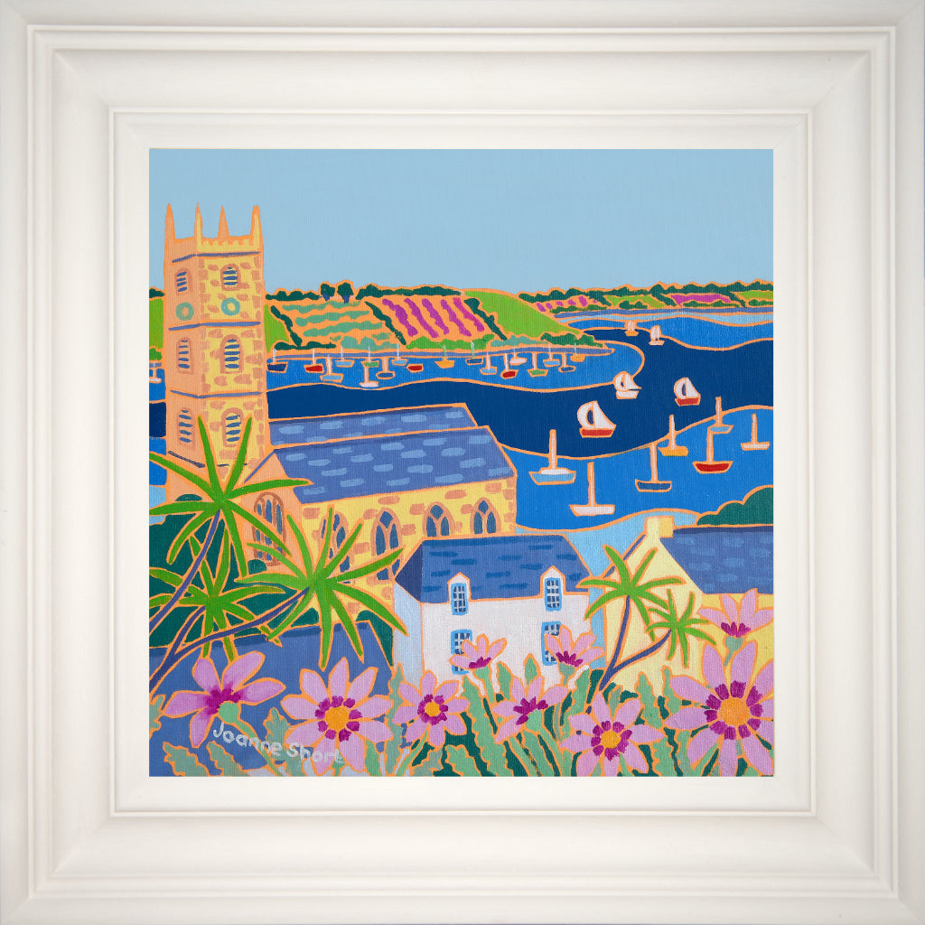 King Charles Church in Falmouth Cornwall painted by artist Joanne Short. Falmouth bay with boats, palm trees and flowers.