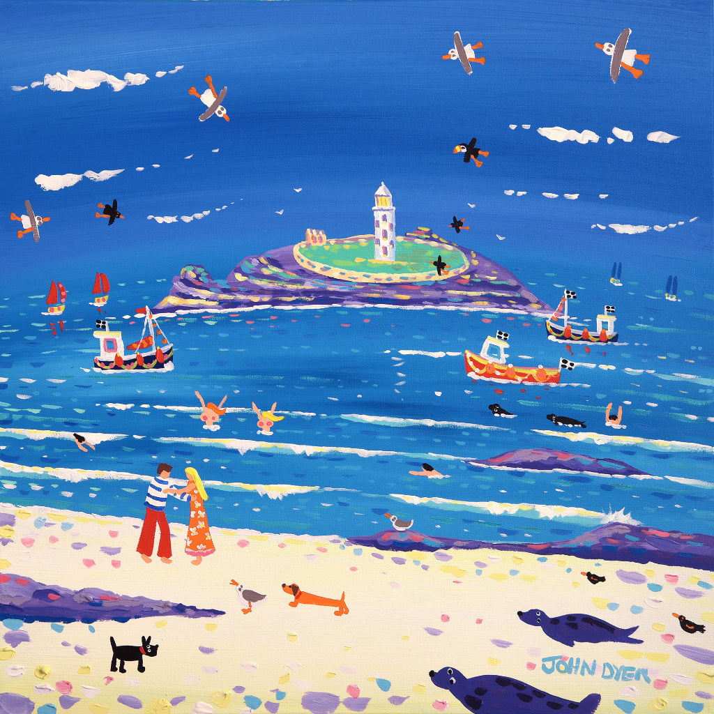 John Dyer Painting. Godrevy Cuddle, 18 x 18 inches acrylic on canvas