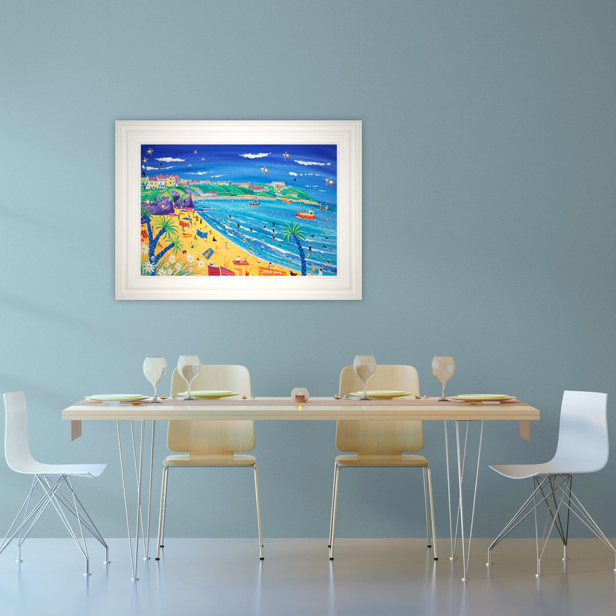 Painting by John Dyer. Surfing and Sunbathing, Great Western Beach, Newquay. 