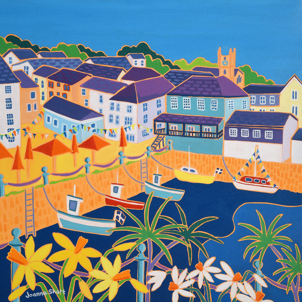 Joanne Short oil painting of Customs House Quay in Falmouth, Cornwall. palm trees, daffodils, bunting, cafe, pub and fishing boats.