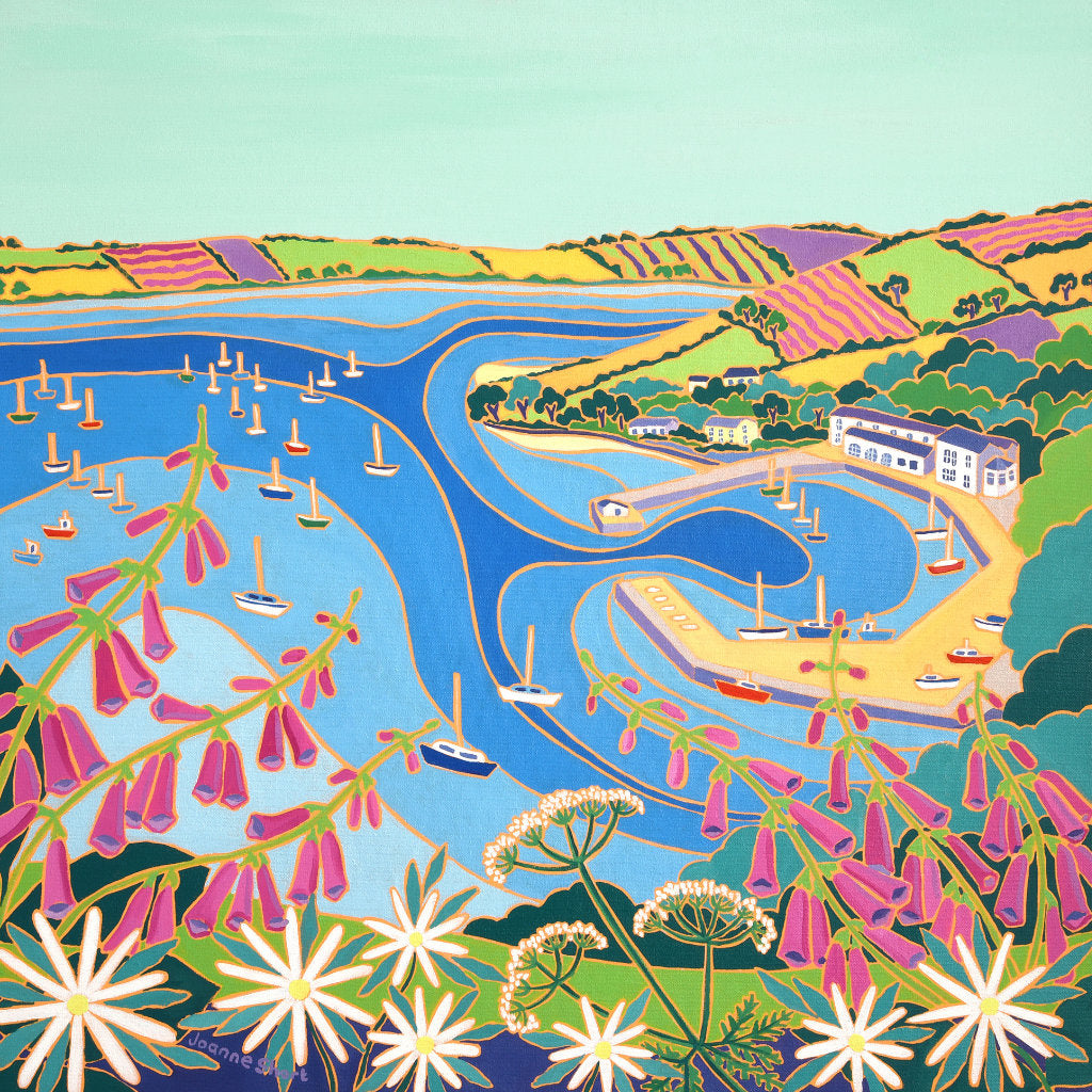 Joanne Short painting of Mylor harbour in Cornwall. Cornish wild flowers with foxgloves and cow parsley. View of the Carrick Roads and the Roseland Peninsular.