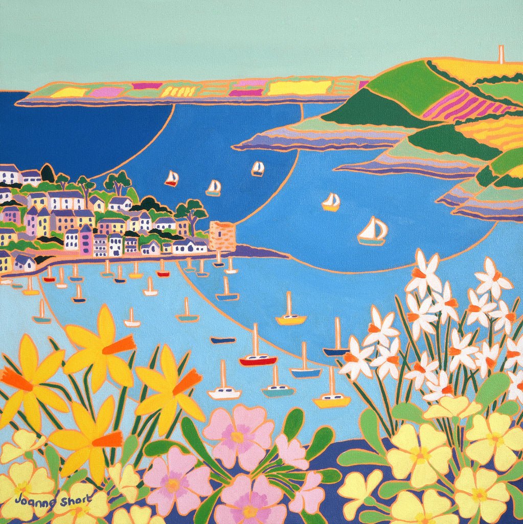 Painting of Polruan near Fowey in Cornwall by Cornish artist Joanne Short. Spring flowers and boats.