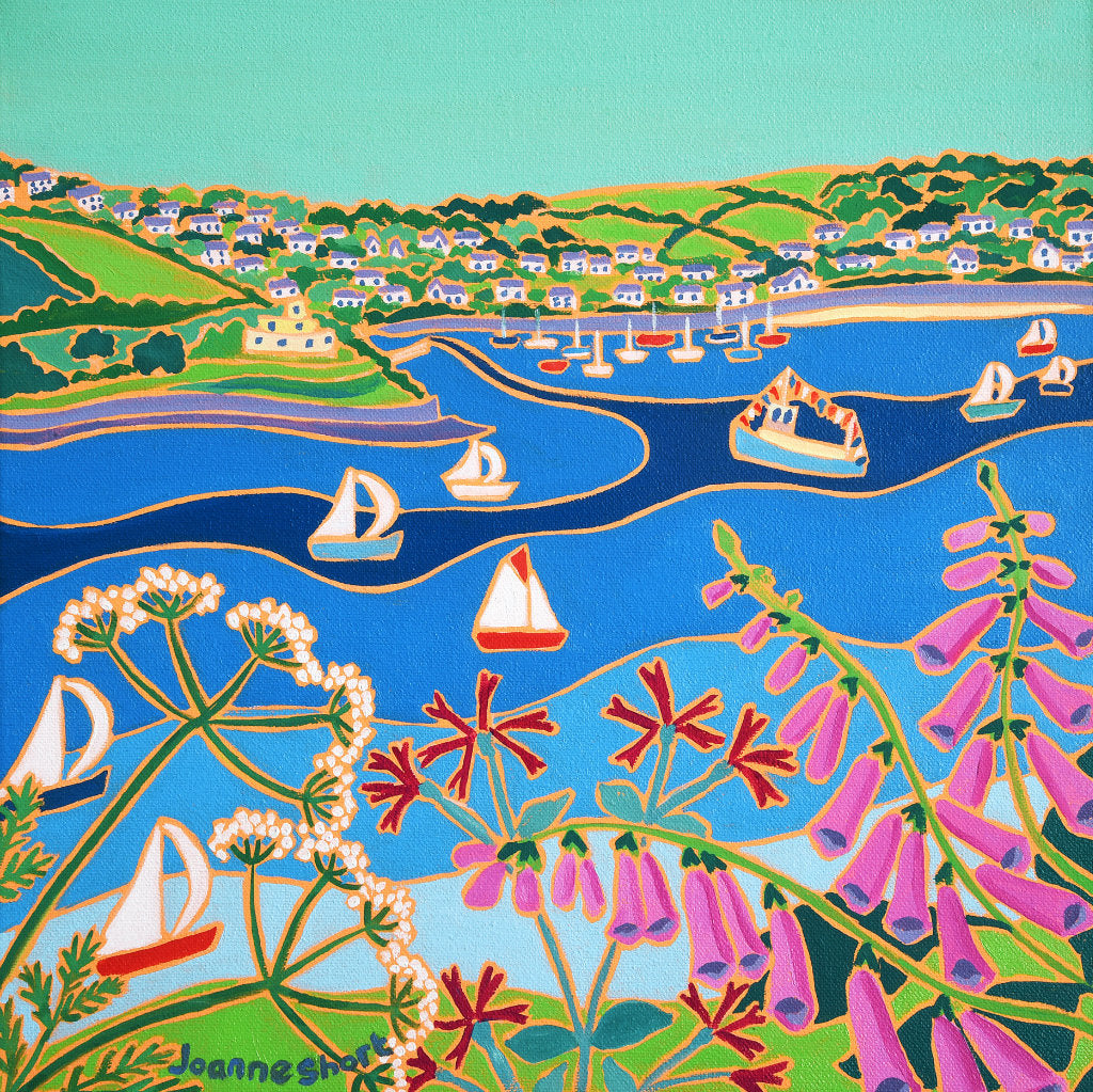 Sailing boats racing past St Mawes Castle in Cornwall. Painting by Joanne Short with Campion, Cow Parsley and Foxgloves. The St Mawes Ferry can be seen in the picture.