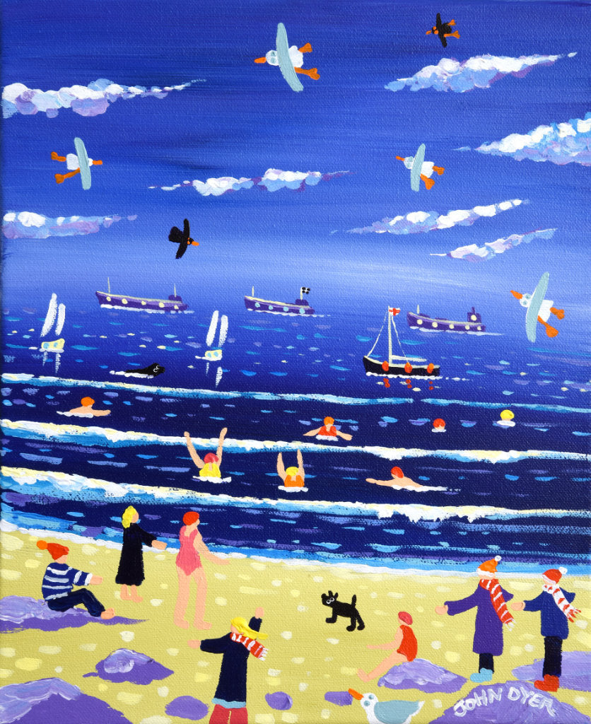 Cold water swimmers in Falmouth, Cornwall. Painting by artist John Dyer.