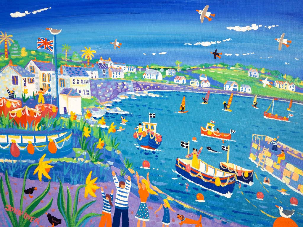 Coverack Harbour with daffodils painting by John Dyer. Windsurfers, sausage dachshund dog, fishermen and a union jack flag.