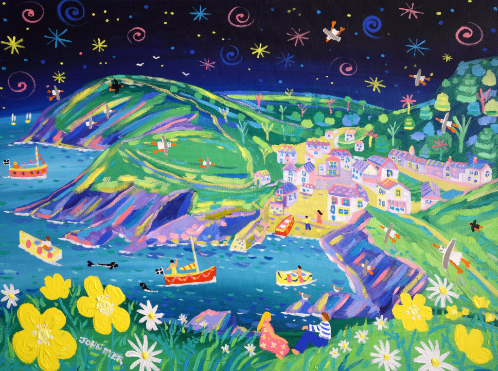 John Dyer painting of the fishing village of Portloe in Cornwall. Buttercups and daisies with a couple, fishermen, seals, stars and seagulls. Nighttime painting.