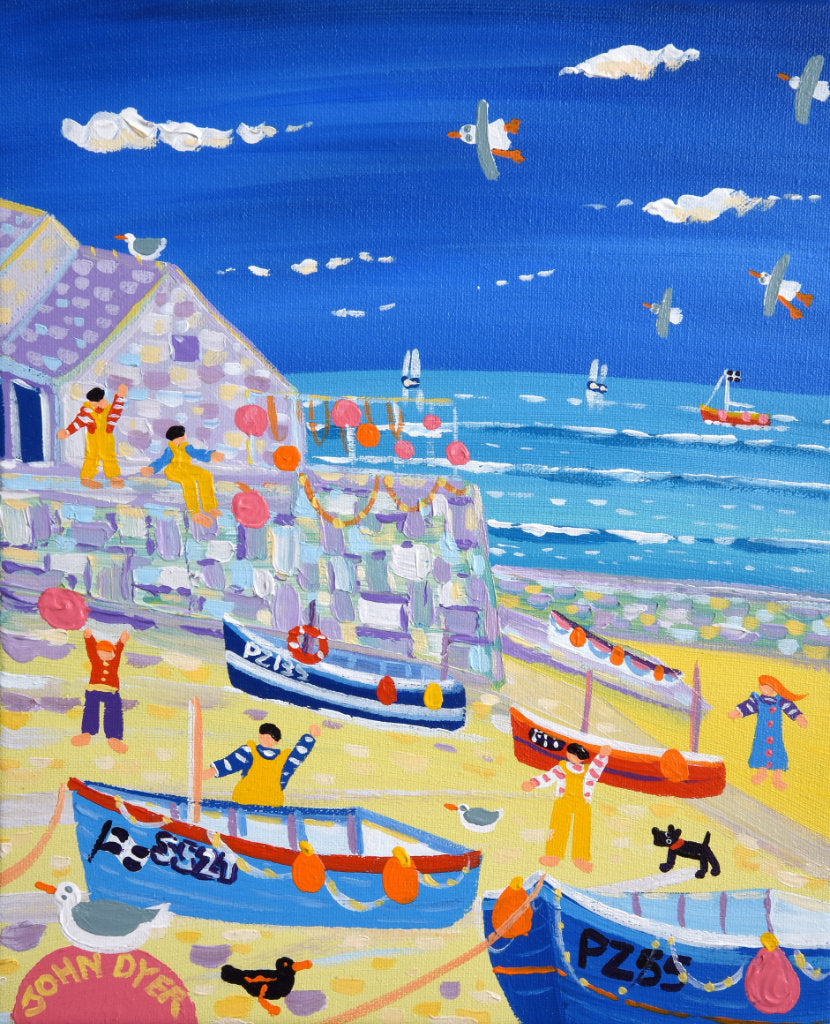 John Dyer painting of Sennen Cove with fishing boats and fishermen in Cornwall.