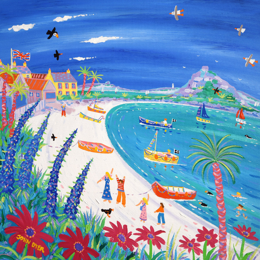 Blue echiums and tropical pink flowers on the beach at Old Grimsby on Tresco in the Isles of Scilly painted by John Dyer. Palm trees, boats, puffins, seagulls and a family on holiday.