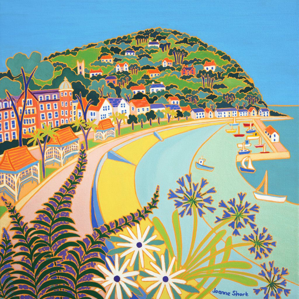 "This beautiful oil painting on canvas by artist Joanne Short, captures the beauty and colour of the Minehead promenade, sweeping round to the pretty harbour and stunning North Hill rising above the bay. North Hill is often referred to as ""The gateway to Exmoor"" and is the start of the South West Coast Path."