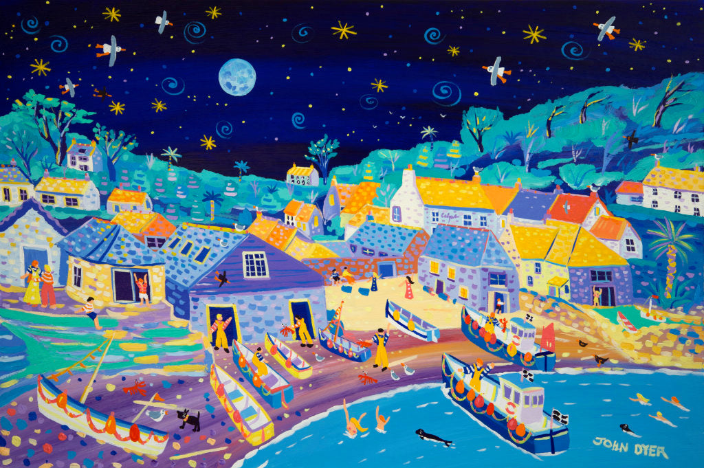 A watery moon lights up this pretty seaside hamlet as fishermen bring in their haul and skinny dippers swim with seals in this stunning original painting by Cornish artist John Dyer. The beach is busy with small Cornish fishing boats and the sky full of twinkling stars. John's iconic seagulls circle above waiting for the next catch in this idyllic scene. This is a painting which will bring alive any room it hangs in; a joy to behold.