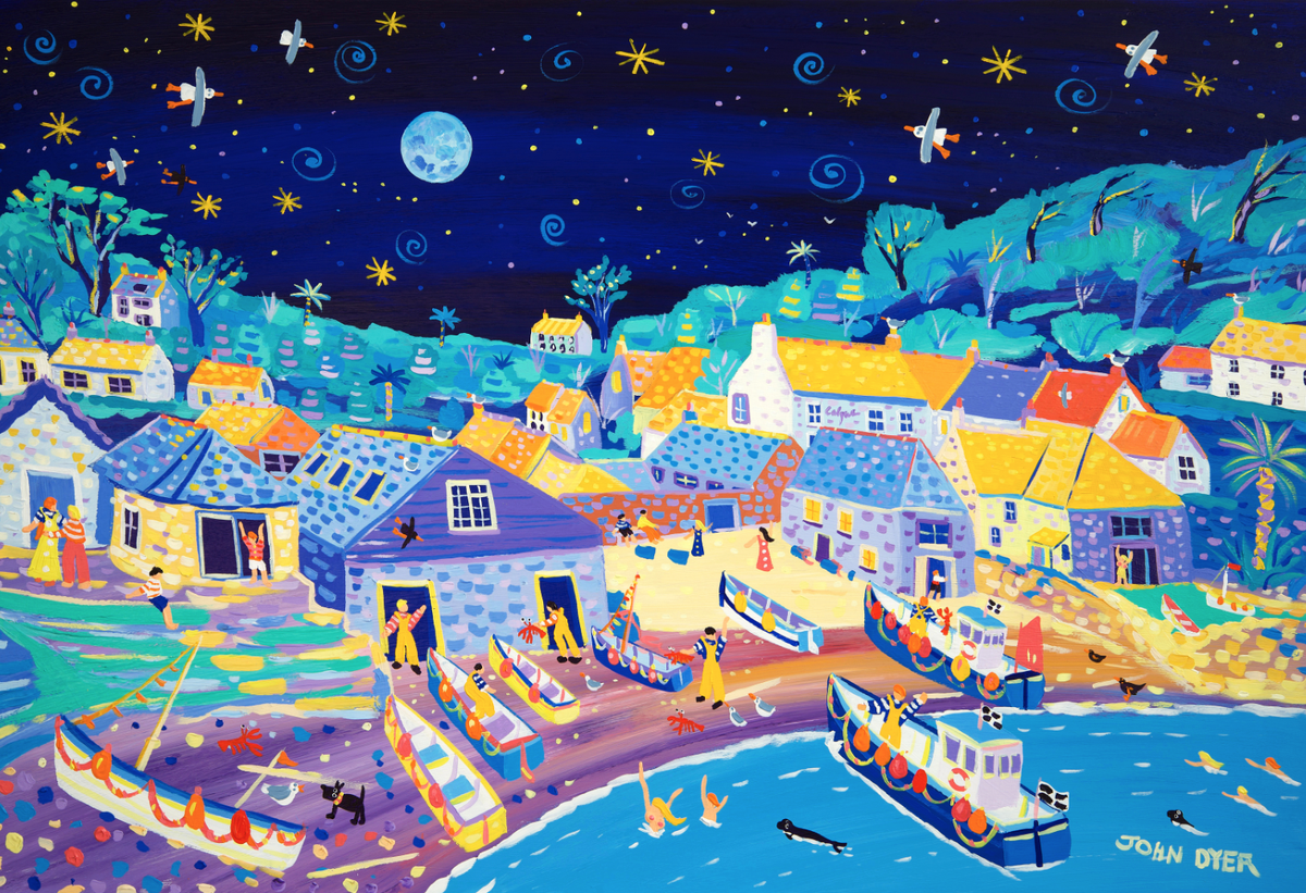 Limited Edition Print by John Dyer. Moonlit Skinny Dippers, Cadgwith