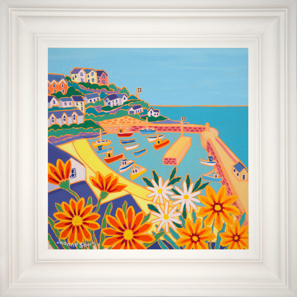 framed painting of Newquay Harbour in Cornwall by artist Joanne Short featuring orange  gazania flowers.