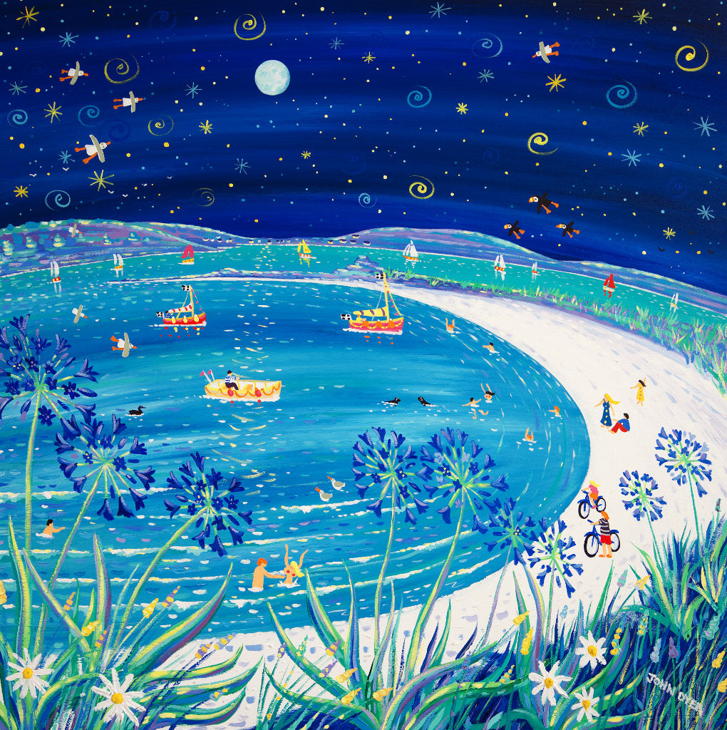 This stunning feature painting by Cornish artist John Dyer immerses us in the wonder of a full moon sparkling over the sea on the island of Tresco in the Isles of Scilly. Our view is through blue agapanthus and along the glistening white sand of Pentle Bay beach and the islands beyond. Swimmers can be seen enjoying the water and a couple push their bikes along the beach. Fishing boats, seasl, seagulls and puffins complete this spectacular starlit and wondrous painting.