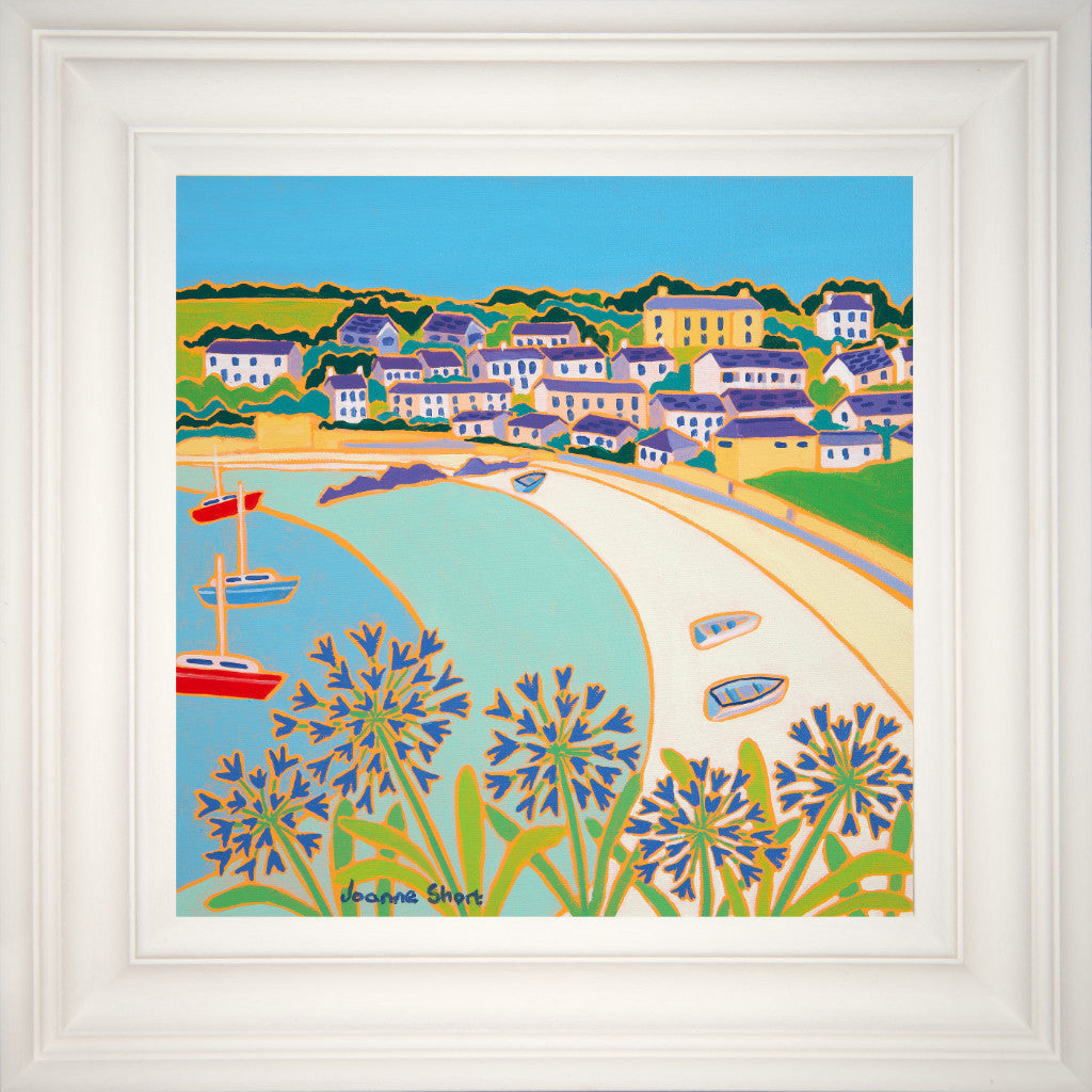 This original oil painting by acclaimed Cornish artist Joanne Short, of Porthcressa Beach, captures the beauty and tranquility of St. Mary's in the Isles of Scilly to perfection. Boats bob near to the shore as the blue agapanthus dazzle in the foreground, lifting their heads above the glistening white sand typical of the Isles of Scilly. This painting gives out an aura of calm, away from the bustle of everyday life; something to sit, enjoy and dream about.