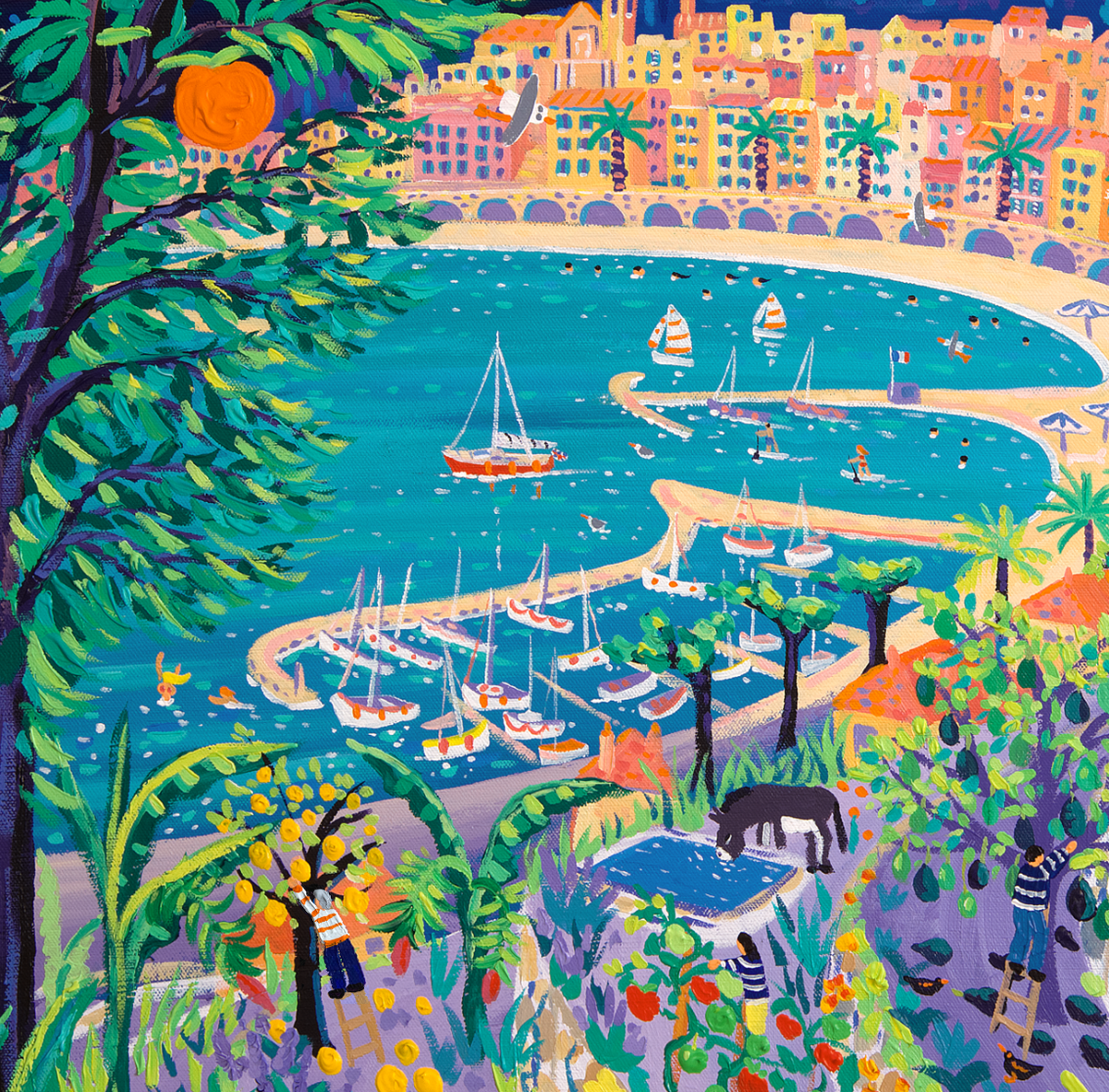 John Dyer Painting. Sailing past the Jardin Des Antipodes, Menton. 80cm x 80cm acrylic on canvas