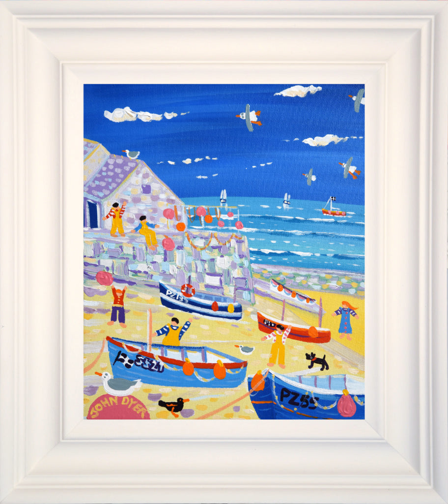 John Dyer Painting. Fishing boats and Fishermen, Sennen. 