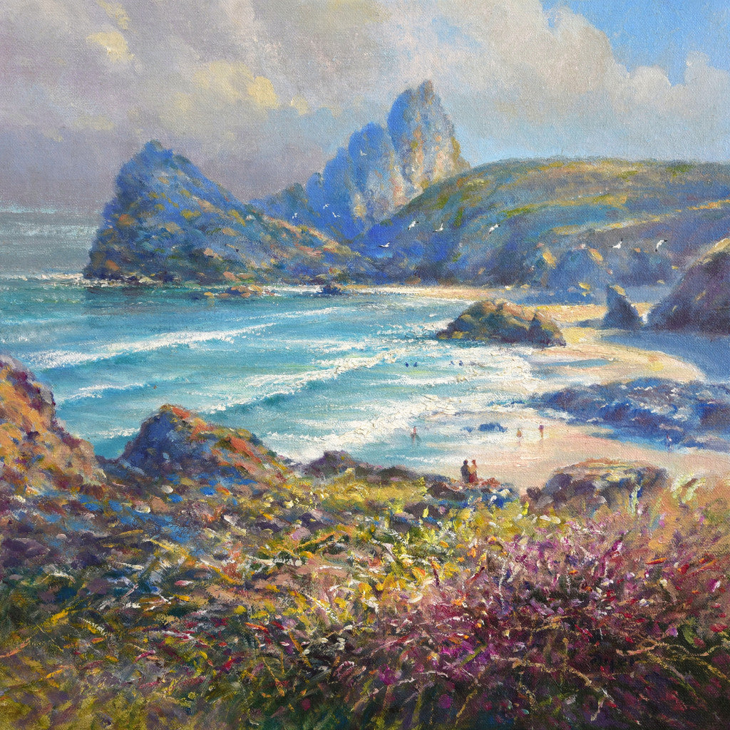 Ted Dyer painting. Soft Light, Kynance Cove. 14 x 14 inches oil on canvas.