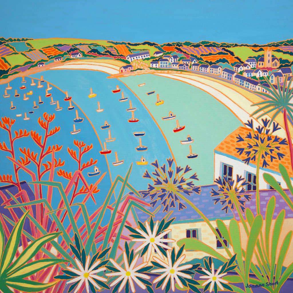 This stunning original oil painting of Hugh Town, St Mary's, on the Isles of Scilly by Cornish artist Joanne Short, captures the beauty of this quaint Cornish town. The sub tropical plants in the foreground are typical of these islands with their warm, Mediterranean climate, and can be found all over St. Mary's. This view is across the rooftops above the town, looking towards the harbour and cove below with the boats bobbing in the water. A perfect summer's morning.
