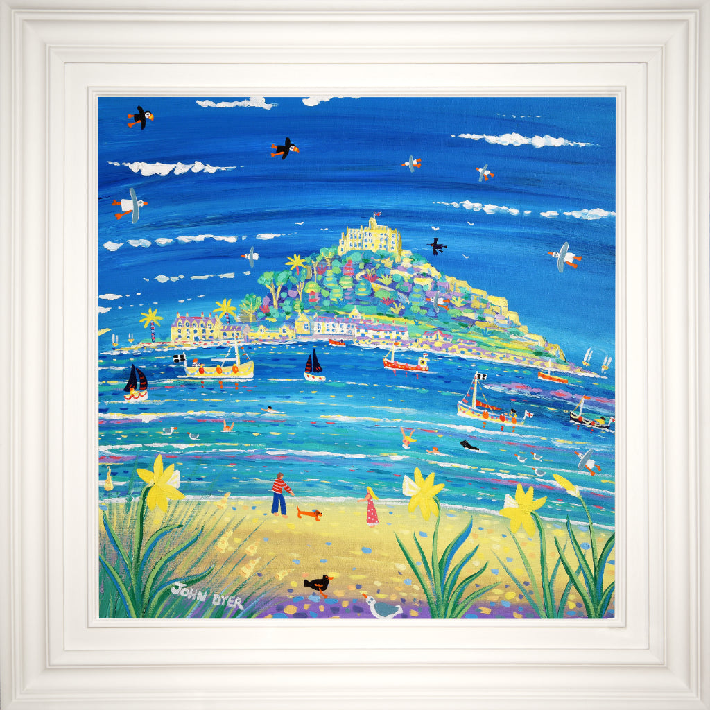 John Dyer painting of St Michael's Mount in Cornwall. A sausage dog is walked along the beach. Daffodils, fishing boats, seals and puffins feature in the painting.
