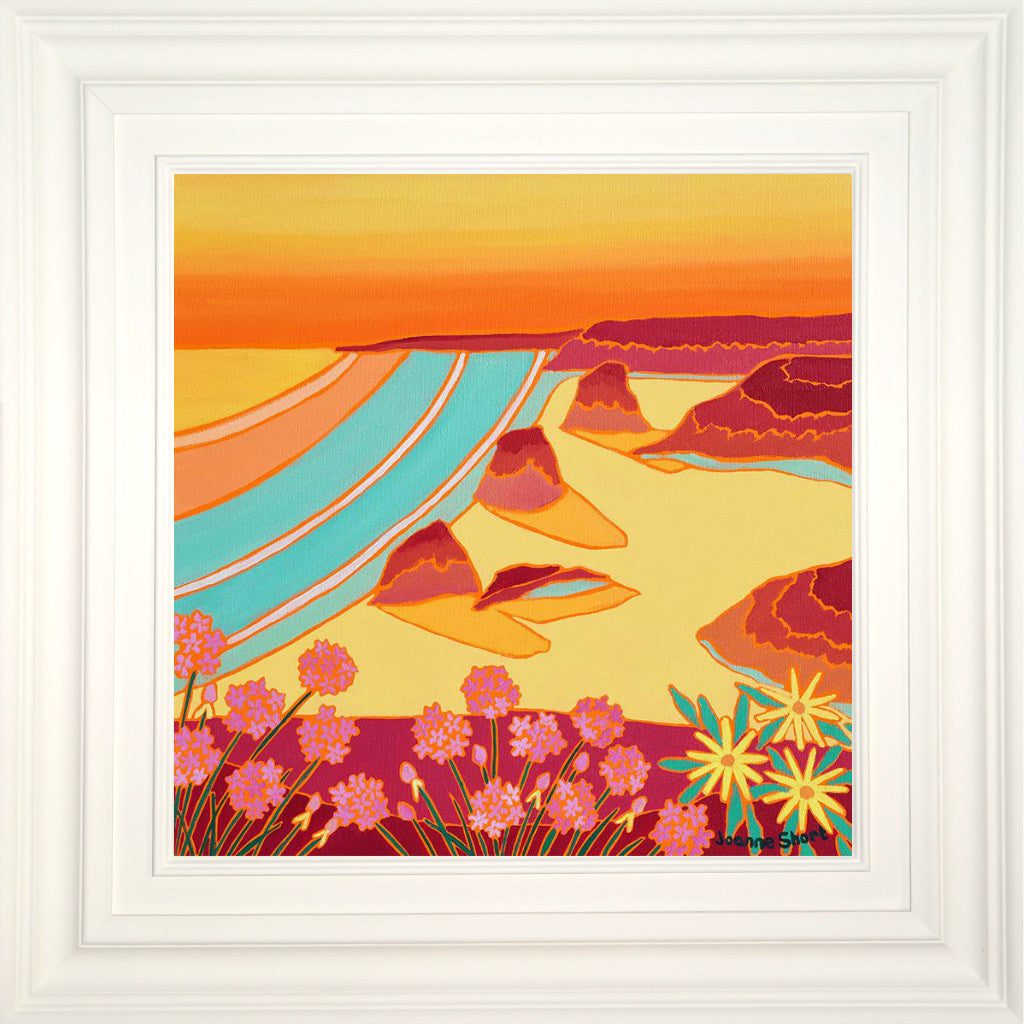 Original Painting by Joanne Short. Summer Sunset, Bedruthan Steps, Cornwall.