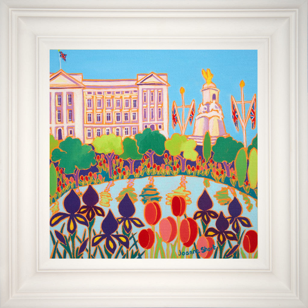 The view from St James's Park towards Buckingham Palace in London has provided a wonderful subject for artist Joanne Short. Iris and tulips edge the pond and beyond the park, Union Jack flags line the Mall leading to Buckingham Palace. The artist's use of flat oil colour works to great effect in this jewel-like painting of London.