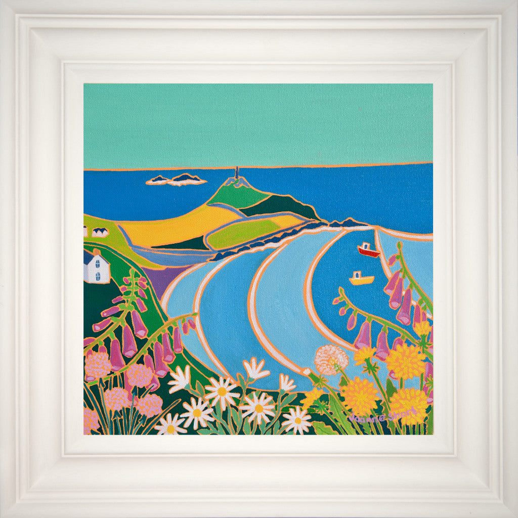 framed painting of Cape Cornwall by artist Joanne Short with foxgloves and wild Cornish flowers.