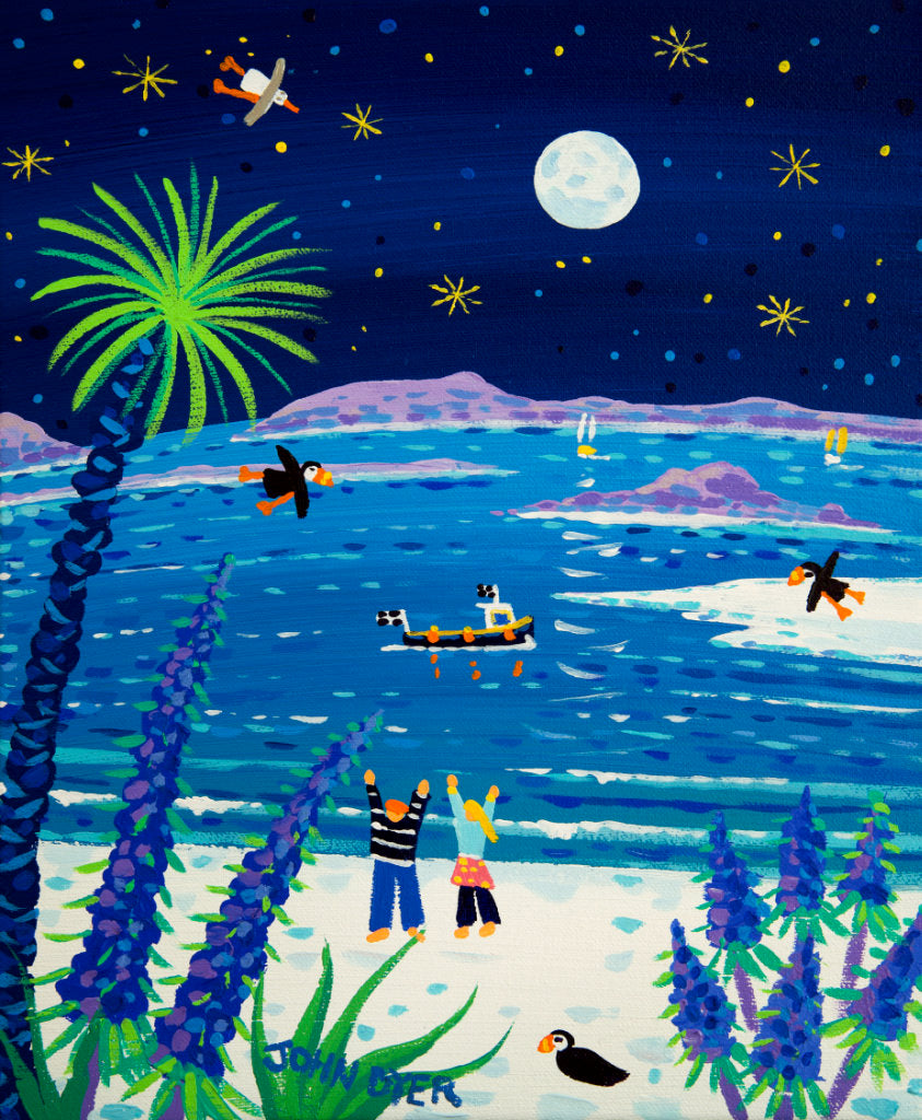 This is a truly beautiful painting of Tresco by well known Cornish artist John Dyer. The beauty of this island in the stunning Scilly Isles, is captured here, with the famous glistening white sand and puffins circling, under a full summer moon. A couple wave at a passing fishing boat while the blue echiums on the edge of the beach complete this fairytale painting.