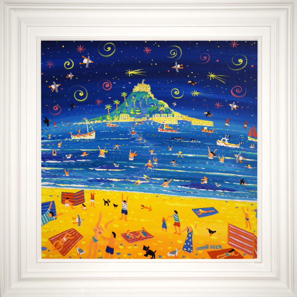 John Dyer Painting. Summer Shooting Stars, St Michael's Mount. 24 x 24 inches acrylic on canvas