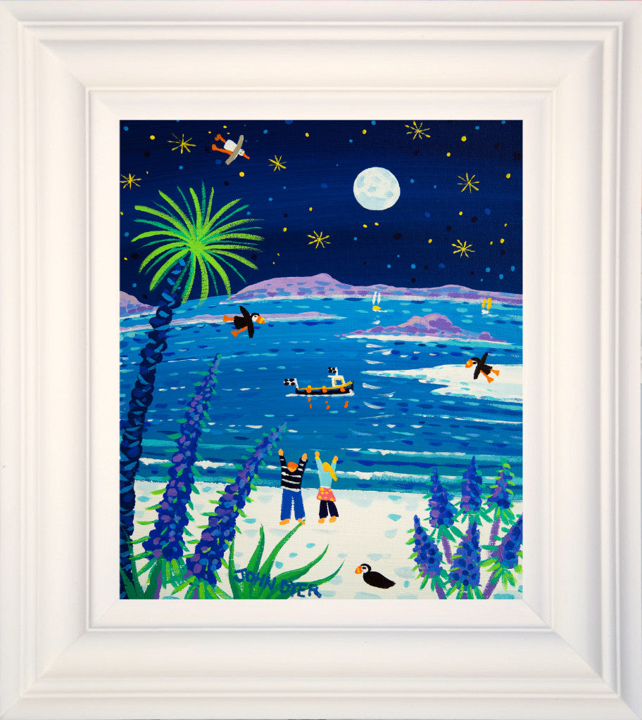 Framed John Dyer painting of Tresco featuring a full moon and blue echiums with puffins.