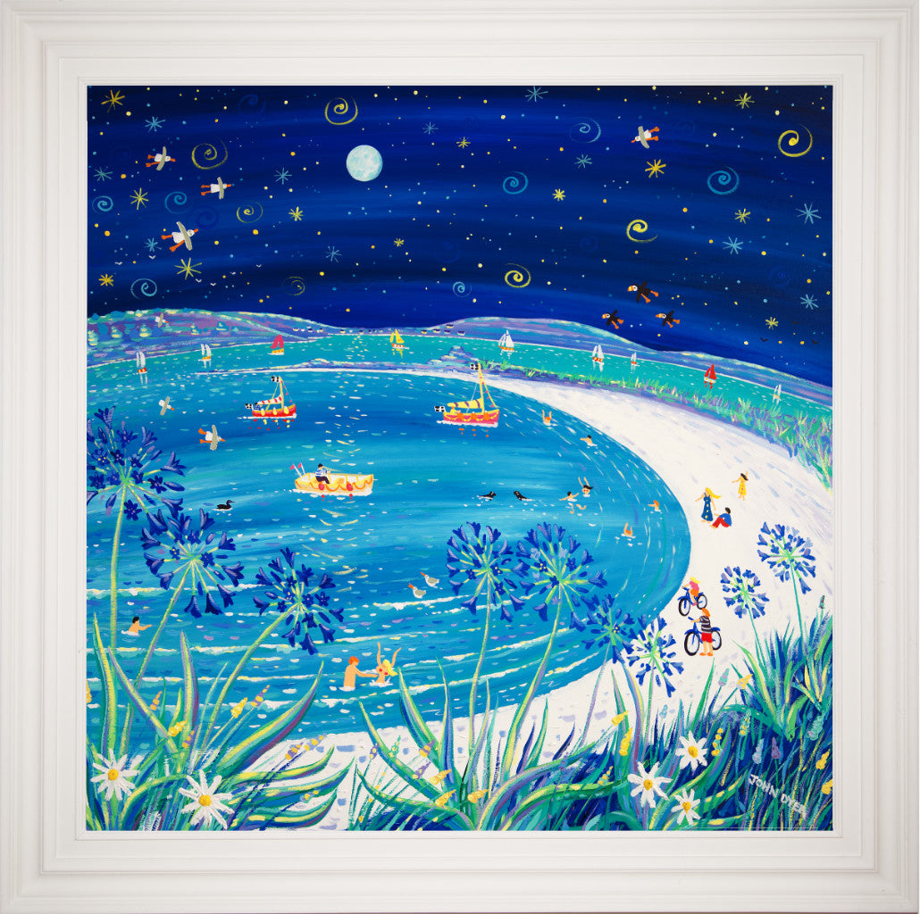 Large framed painting by acclaimed artist John Dyer of Pentle Bay on the island of Tresco. A nocturne with agapanthus flowers, puffind, cyclists and fishing boats. Full moon and twinkling stars.