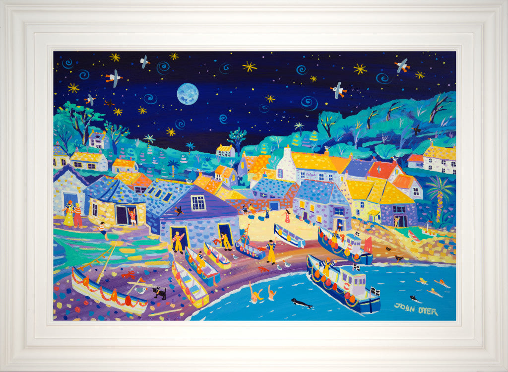 Framed original John Dyer painting of Cadgwith in Cornwall under the full moon.