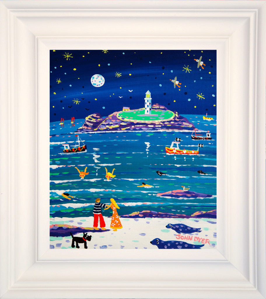 Framed original painting by Cornwall's most famous artist John Dyer. A couple embrace on the beach and seals, stars and seagulls animate the painting with narrative.