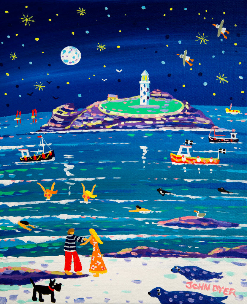 Love and laughter are the sentiments of this painting of Godrevy by Cornish artist John Dyer. A couple dance and sway on the shoreline, while skinny dippers laugh and play in the water. All this is under a full moon and a star filled sky. Seals look on and fishing boats bob about bringing in their catch. This romantic painting will bring joy to all.