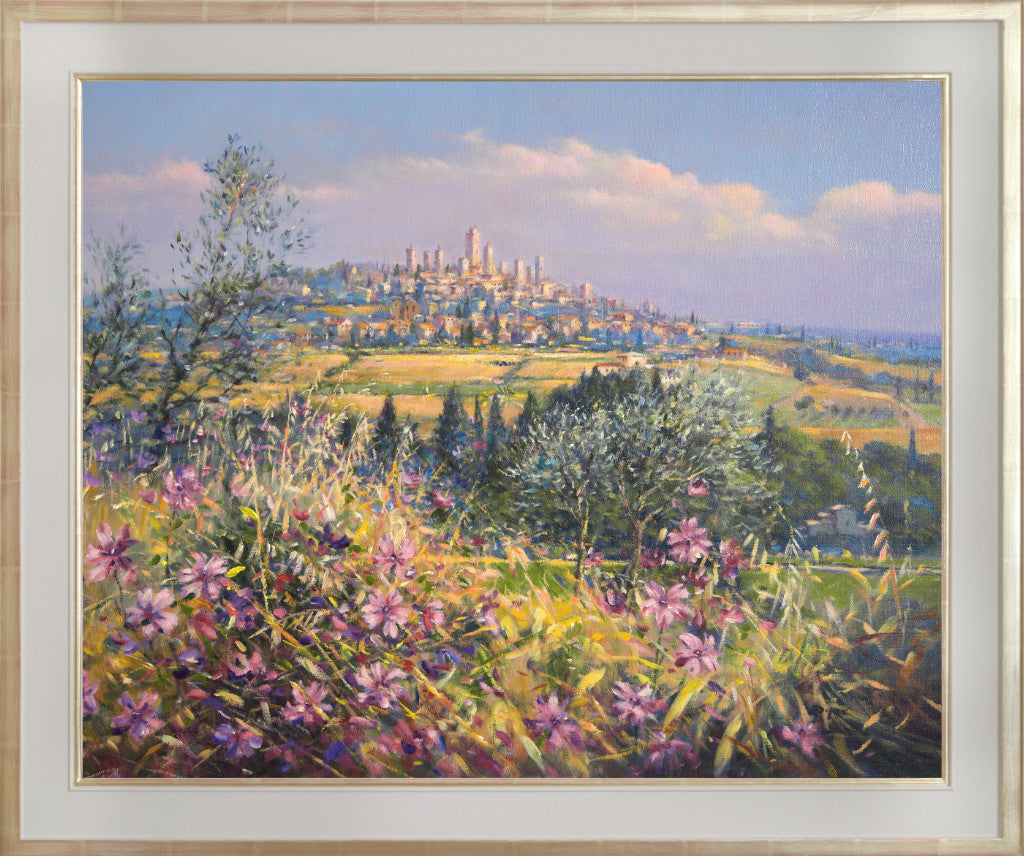 Original Painting by Ted Dyer. San Gimignano, Bells Chiming. Tuscany. 