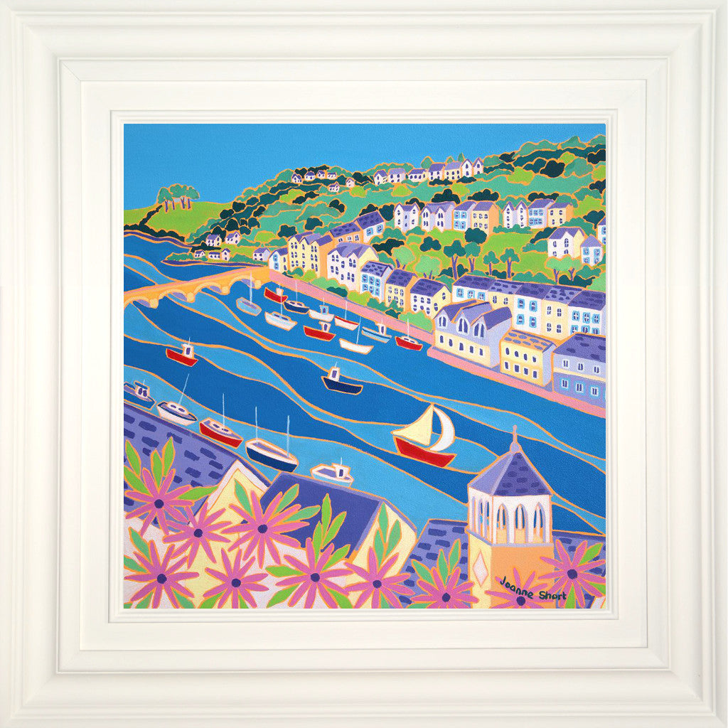 Original Painting by Joanne Short. Boats on the River, Looe